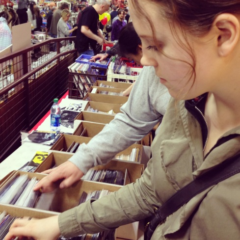 Megan at the Record Archive on Record Store Day